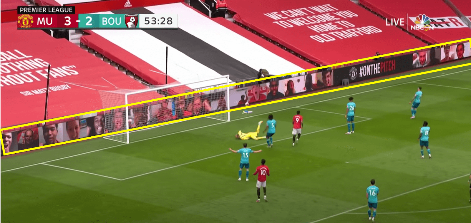 Goal line seat tarps at Manchester United game